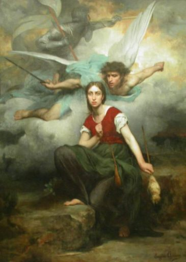 Jeanne d'Arc, 1876. Painting by Eugène Thirion. Public Domain.